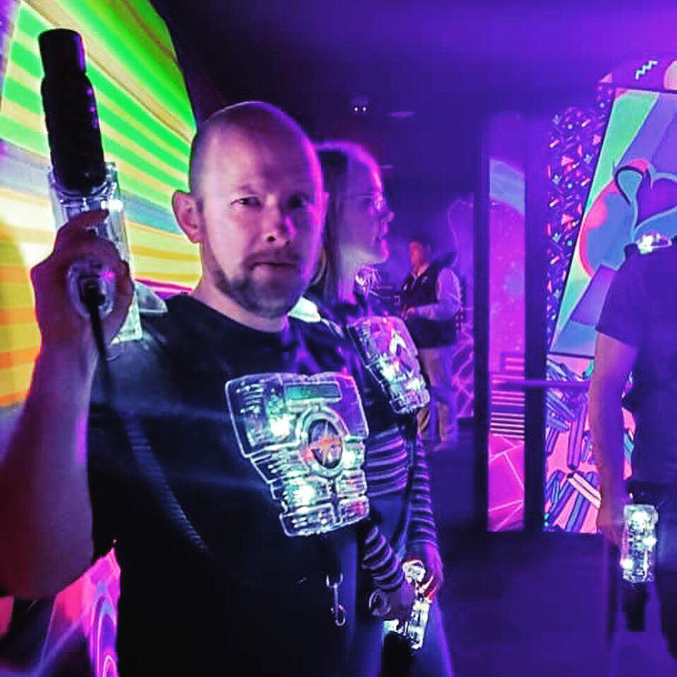 impossibilities magician/mentalist erik dobell about to play laser tag in gatlinburg, tn